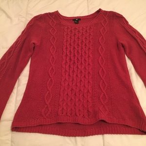 H&M cable knit sweater, darker magenta
